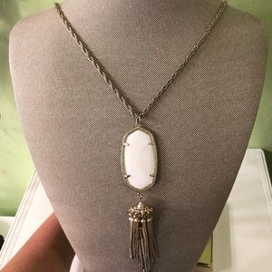 WHITE KENDRA SCOTT TASSLE NECKLACE